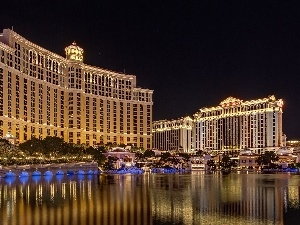 Night, Las Vegas, Hotel hall, Bellagio