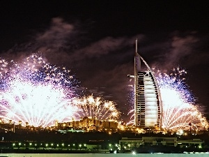 Night, fireworks, Dubaj, Hotel hall