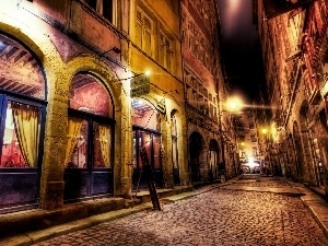 Night, Restaurant, Houses, Street