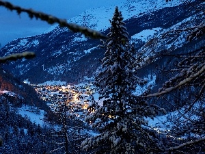 Night, Switzerland, winter, Mountains, Houses, Alps