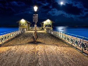 Lighthouse, Night, pier