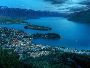 night, panorama, Queenstown, New Zeland