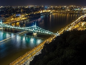 Night, Town, River, bridge