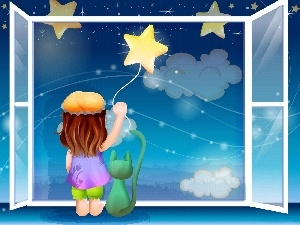 Night, Window, Kid, star, cat