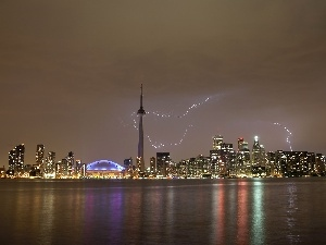 Night, lightning, CN Tower, Ontario