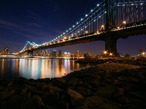 Nowy York, Manhattan Bridge, bridge, Night