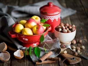 apples, nuts, bowl