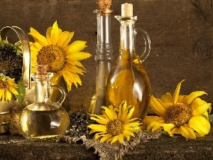 oil, Bottles, Flowers, sunflower
