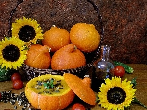 oil, vegetables, pumpkin, composition, Nice sunflowers