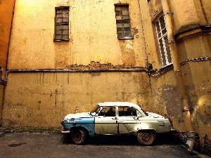 Automobile, Old car, Old, Wolga, tenement-house