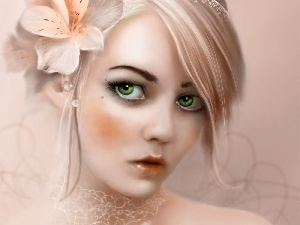 green ones, Hair, Colourfull Flowers, Women, Eyes, Bright
