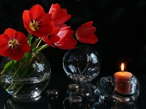 Orb, Glass, Red, candle, Flowers