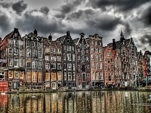 cloudy, over a canal, Amsterdam, Sky, houses