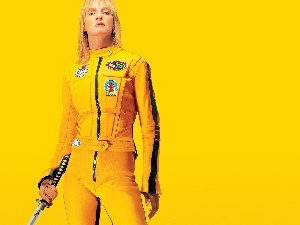 overalls, Uma Thurman, Yellow
