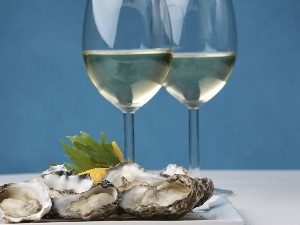 Wine, Oysters, glasses
