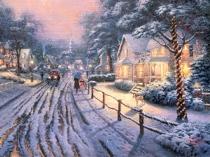 painting, Town, winter, Thomas Kinkade, Street