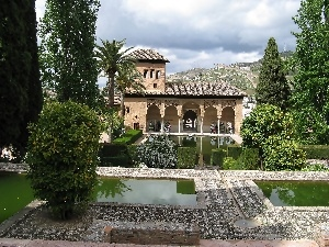palace, Team, alhambra, Garden, fortified