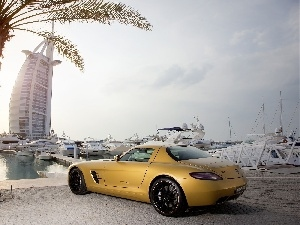 SLS, Yellow, Palm, Mercedes, Dubaj, Hotel hall, sea, Burj Al Arab