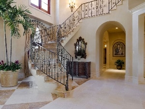 Palm, Stairs, interior, house