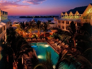 Palms, sea, Hotel hall, night, Pool