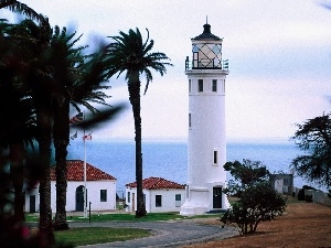 Palms, maritime, sea, Lighthouse