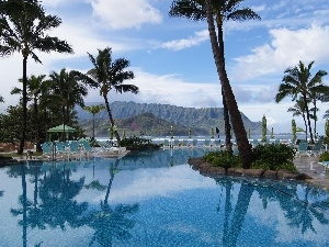 Palms, Hotel hall, sea, Tropical, Mountains