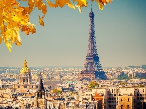 panorama, Paris, tower, autumn, Eiffla