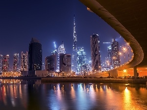 night, panorama, Dubaj