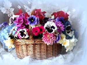 pansies, flowers, bouquet, dahlias, Colorful