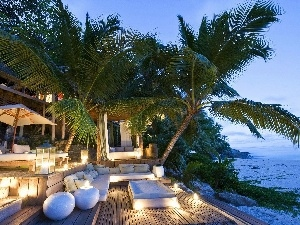 Candles, patio, Palms