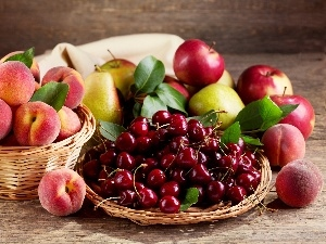 peaches, Cherries, Fruits, Apples