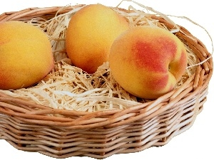 hay, peaches, basket