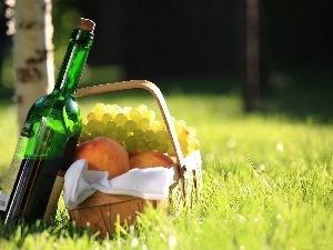 peaches, Grapes, basket, picnic, Wine