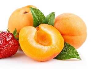 strawberries, peaches, Fruits