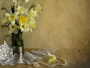 Pearl, Daffodils, Vase, lace, Yellow