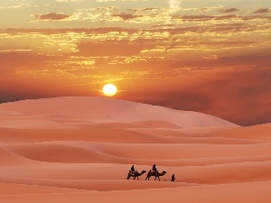 People, Desert, west, sun