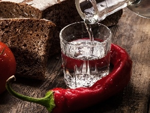 pepper, tomato, vodka, bread, glass