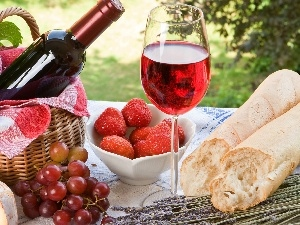 picnic, Meadow, Wine, Fruits