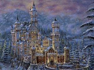picture, winter, Castle, Neuschwanstein