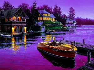 picture, Houses, lake, Motor boat