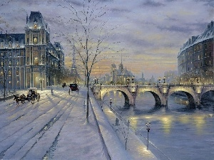 winter, picture, Paris