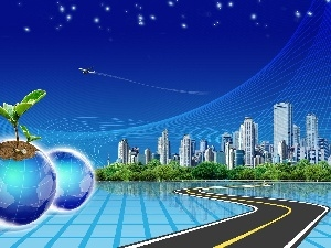 plane, buildings, graphics, globe