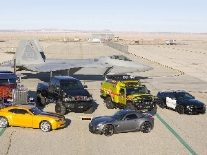 plane, cars, airport, Hangar, different