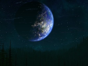 Planet, star, forest, Sky