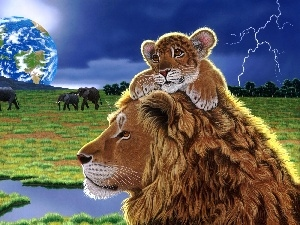 Planet, Storm, Lion, young