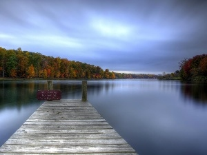 Platform, woods, autumn, lake