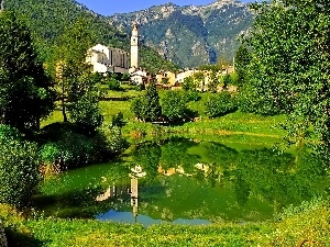 Pond - car, Houses, Mountains, reflection, Church