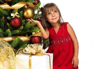 Present, girl, christmas tree