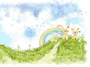 rabbits, Great Rainbows, Easter