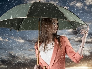 Rain, umbrella, Beauty, Women